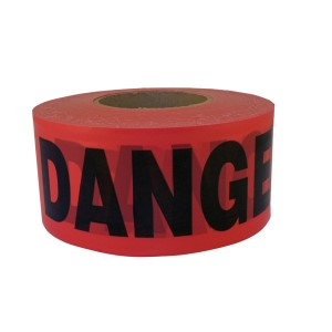 1000' Danger Barricade Tape, Red, 2 mil, Price per Box of 12 Rolls