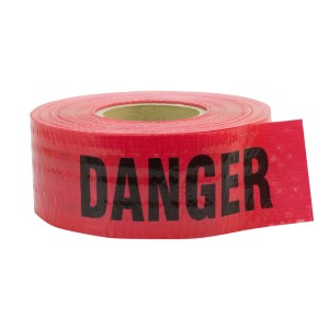 500' Reinforced Danger Barricade Tape, Red, 5 mil, Price per Box of 8 Rolls