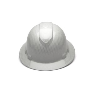 Pyramex Safety - Ridgeline Full Brim Hard Hat - Shiny White Graphite Pattern -Ridgeline Full Brim 4 Pt Ratchet Suspension, Price per Box of 12
