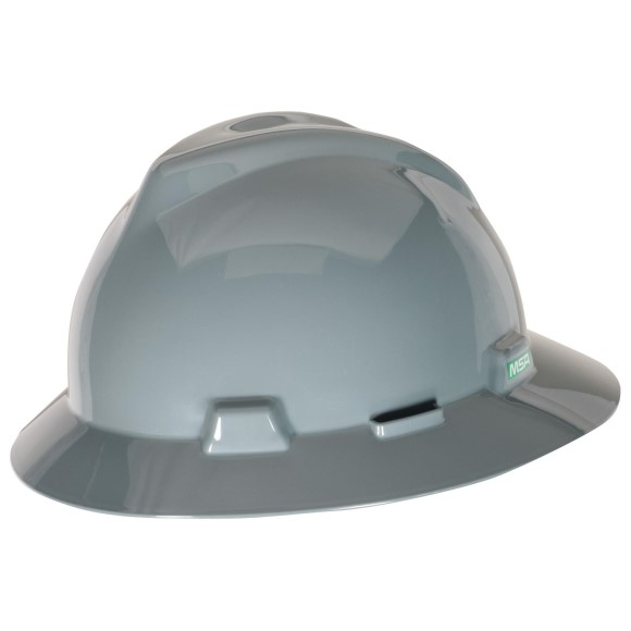 MSA V-Gard Slotted Hat w/ Fas-Trac Suspension, Gray, 475367MSA